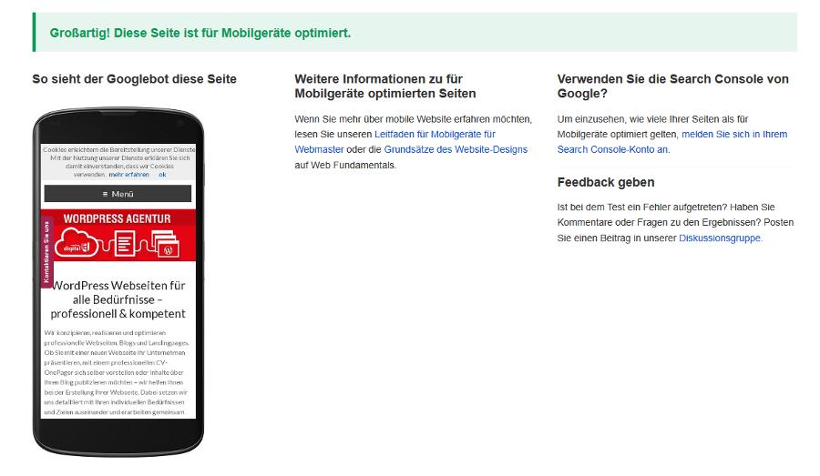 Positives Ergebnis des Google mobile friendly Tests