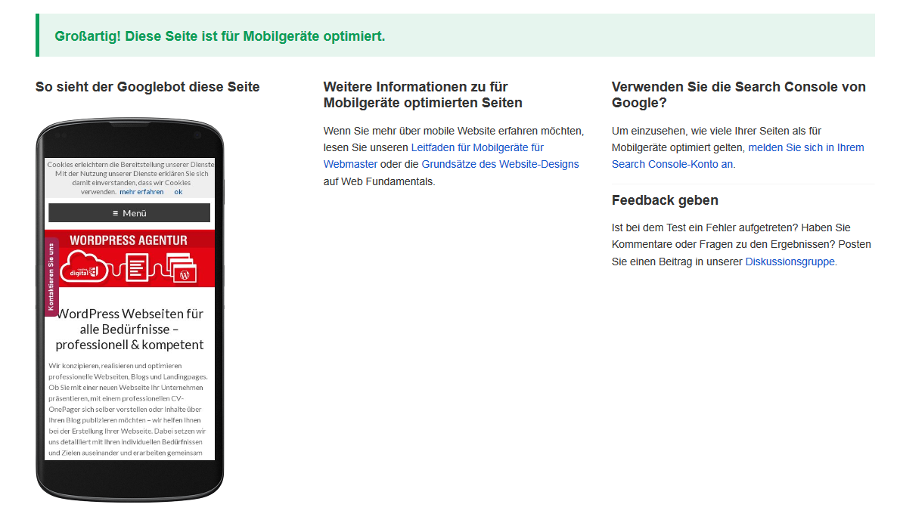 Positives Ergebnis des Google mobile friendly Tests