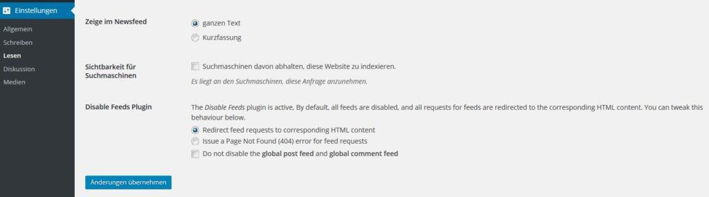 Screenshot eines WordPress Plug-ins zur Deaktivierung von RSS Feeds