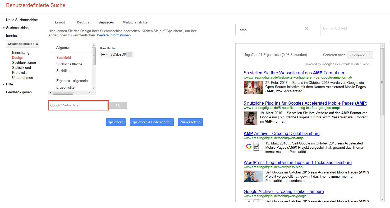 google suche anpassen